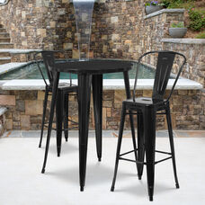 """Commercial Grade 30"""" Round Black Metal Indoor-Outdoor Bar Table Set with 2 Cafe Stools"""