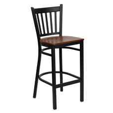 Black Vertical Back Metal Restaurant Barstool with Cherry Wood Seat