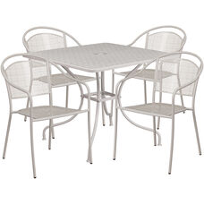 """Commercial Grade 35.5"""" Square Light Gray Indoor-Outdoor Steel Patio Table Set with 4 Round Back Chairs"""