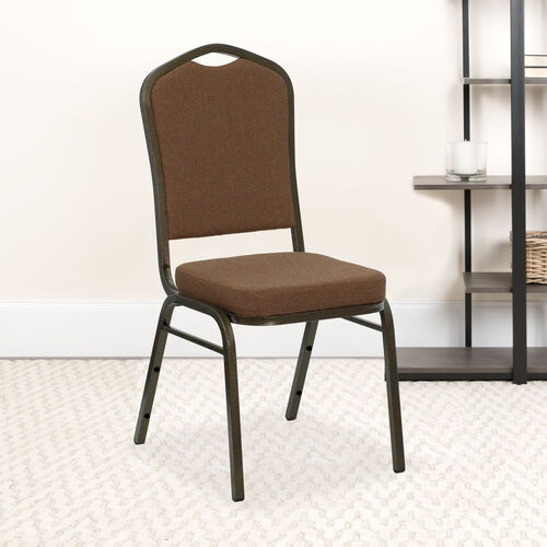 HERCULES Series Crown Back Stacking Banquet Chair in Coffee Fabric - Gold Vein Frame
