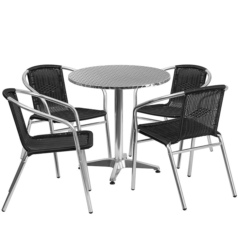 28/'/' Round Indoor-Outdoor Restaurant Table Set with 4 Gray Rattan Chairs