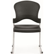 Aire S3000 18'' W x 23'' D x 34'' H Circle Perforated Back Plastic Stack Side Chair - Black