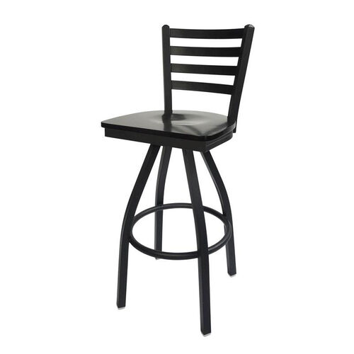 Lima Metal Ladder Back Swivel Barstool - Black Wood Seat