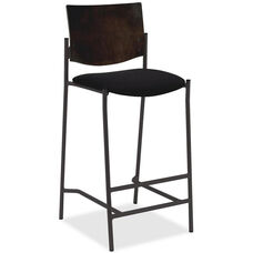 Lorell Wood Back Armless Barstool with Fabric Seat - Espresso