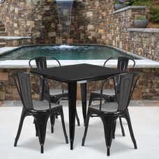 "Commercial Grade 31.5"" Square Black Metal Indoor-Outdoor Table Set with 4 Stack Chairs"