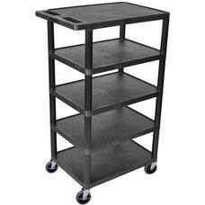 5 Flat Shelf Mobile Structural Foam Plastic Utility Cart - Black - 24