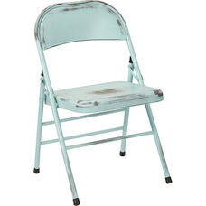 OSP Designs Bristow Distressed Steel Folding Chair - Set of 4 - Antique Sky Blue
