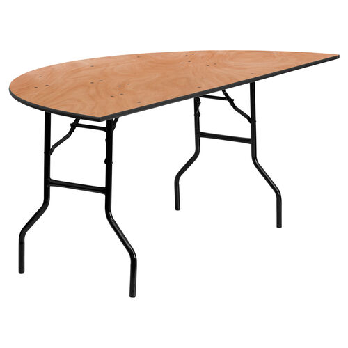 Our 6-Foot Half-Round Wood Folding Banquet Table is on sale now.