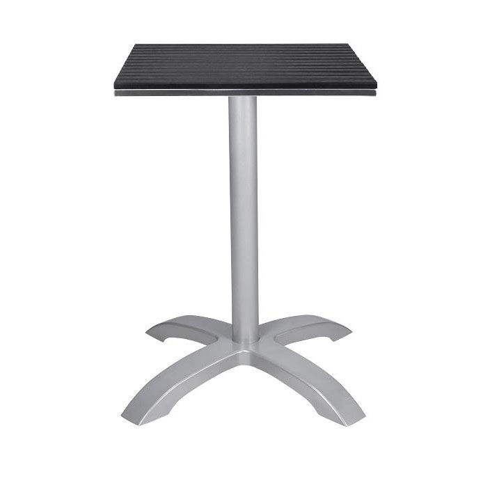 ... Our Nevada 24u0027u0027 Square Black Durawood Table Top With Palm 4 Powder  Coated Aluminum