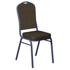 Embroidered Praise Mesquite Fabric Upholstered Crown Back Banquet Chair - Silver Vein Frame
