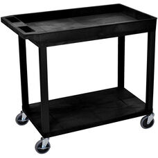 Molded Thermoplastic Resin 1 Tub/1 Flat Shelf Utility Cart with 4'' Casters and Tub Top Shelf - Black - 35.25''W x 18''D x 32.5''