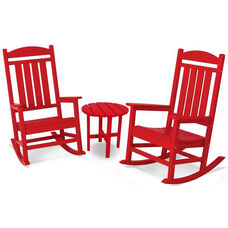 POLYWOOD® Presidential 3-Pc. Rocker Set - Vibrant Sunset Red