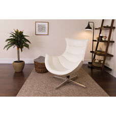 Melrose White Leather Swivel Cocoon Chair
