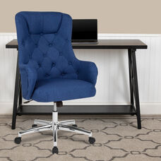 Chambord Home and Office Upholstered High Back Chair in Blue Fabric