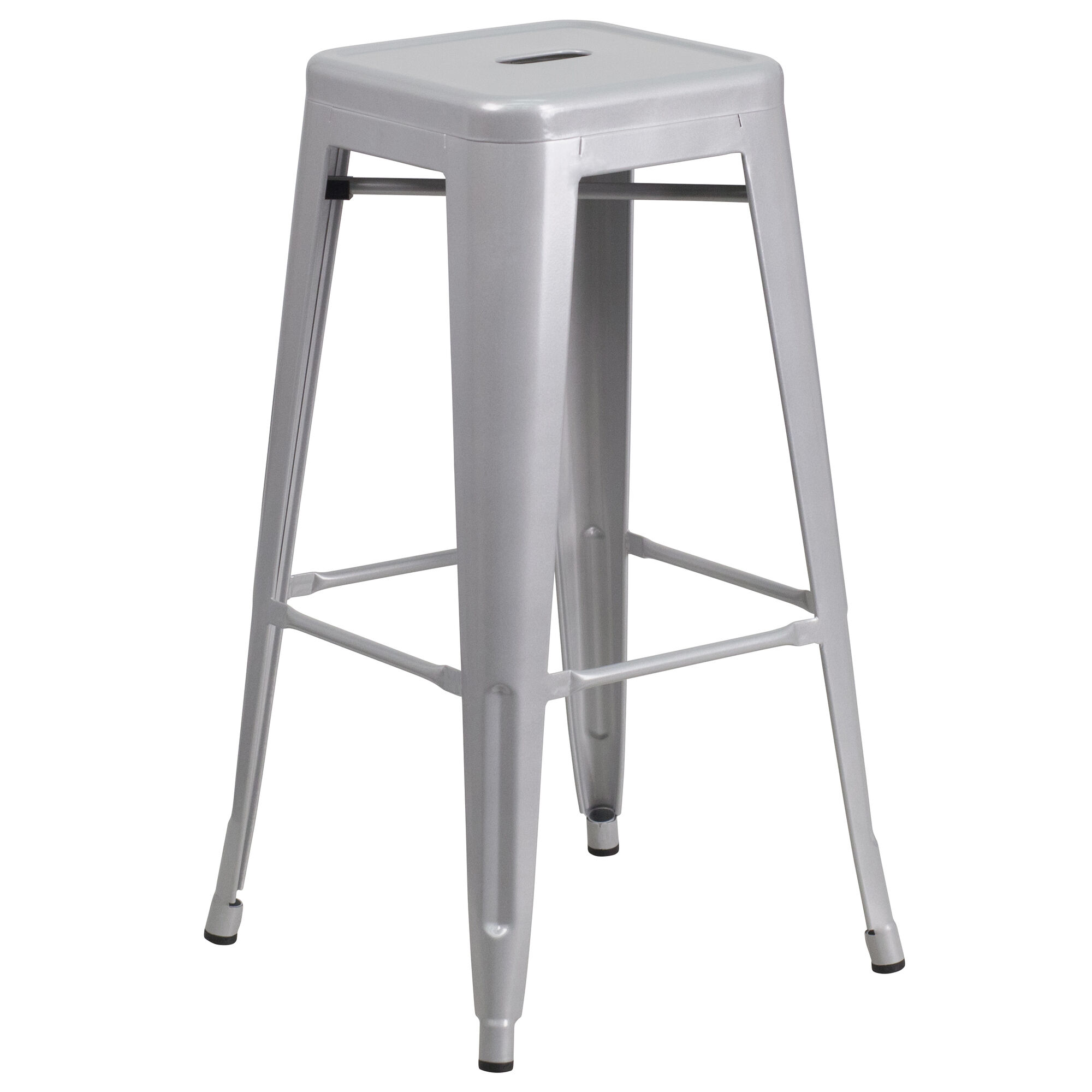 30 Quot Silver No Back Metal Stool Ch 31320 30 Sil Gg