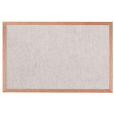 Burlap Weave Vinyl Bulletin Board with Red Oak Frame and Clear Lacquer Finish - Stone - 24
