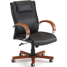 Apex Leather Executive Mid-Back Chair with Cherry Finish - Black