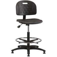 Industrial Specialty Black Polyurethane ABS Base Task Chair with Glides and Footring
