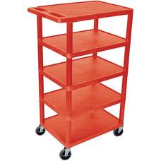 5 Flat Shelf Mobile Structural Foam Plastic Utility Cart - Red - 24