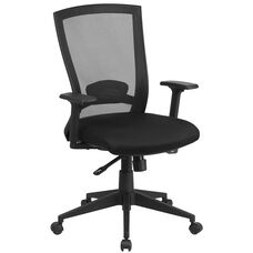 Mid-Back Black Mesh Executive Swivel Chair with Back Angle Adjustment and Adjustable Arms