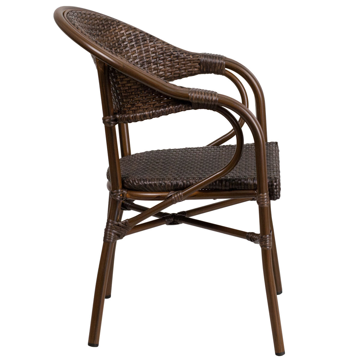 Phenomenal Milano Series Cocoa Rattan Restaurant Patio Chair With Bamboo Aluminum Frame Squirreltailoven Fun Painted Chair Ideas Images Squirreltailovenorg