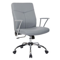 Work Smart FL80287C Faux Leather Office Chair - Charcoal
