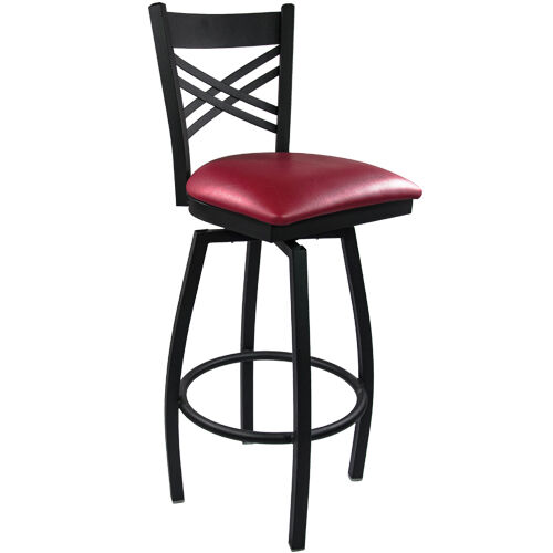 Advantage Cross Back Metal Swivel Bar Stool - Burgundy Padded