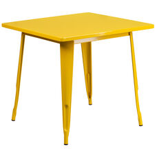 """Commercial Grade 31.5"""" Square Yellow Metal Indoor-Outdoor Table"""