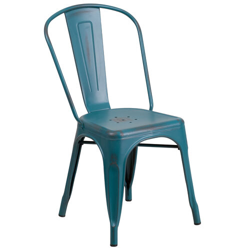 Our Commercial Grade Distressed Kelly Blue-Teal Metal Indoor-Outdoor Stackable Chair is on sale now.