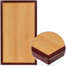 "24"" x 30"" Rectangular 2-Tone High-Gloss Cherry Resin Table Top with 2"" Thick Mahogany Edge"