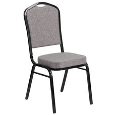 HERCULES Series Crown Back Stacking Banquet Chair in Gray Fabric - Black Frame