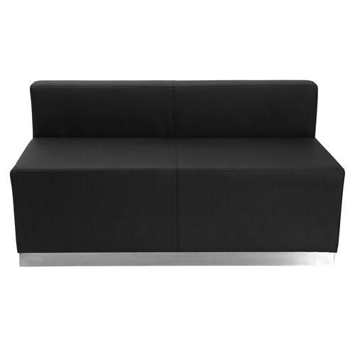 Our HERCULES Alon Series Black LeatherSoft Loveseat with Brushed Stainless Steel Base is on sale now.