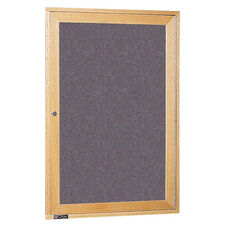 3070 Series Wooden Frame Bulletin Board Cabinet with 1 Locking Tempered Glass Door - 24