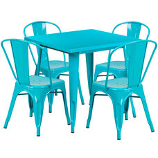 "Commercial Grade 31.5"" Square Crystal Teal-Blue Metal Indoor-Outdoor Table Set with 4 Stack Chairs"