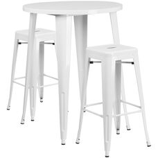"Commercial Grade 30"" Round White Metal Indoor-Outdoor Bar Table Set with 2 Square Seat Backless Stools"