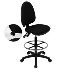 Mid-Back Black Fabric Multifunction Ergonomic Drafting Chair with Adjustable Lumbar Support