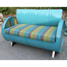Laguna Indoor Steel Drum Loveseat with Multicolor Accents