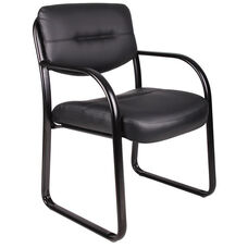 LeatherPlus Sled Base Side Chair with Arms - Black
