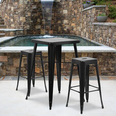 "Commercial Grade 23.75"" Square Black Metal Indoor-Outdoor Bar Table Set with 2 Square Seat Backless Stools"