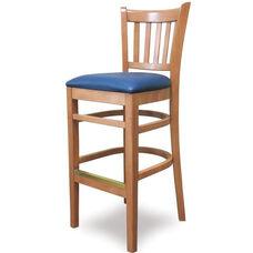 Grill Vertical Back Wood Bar Stool - Grade 1 Upholstered Seat