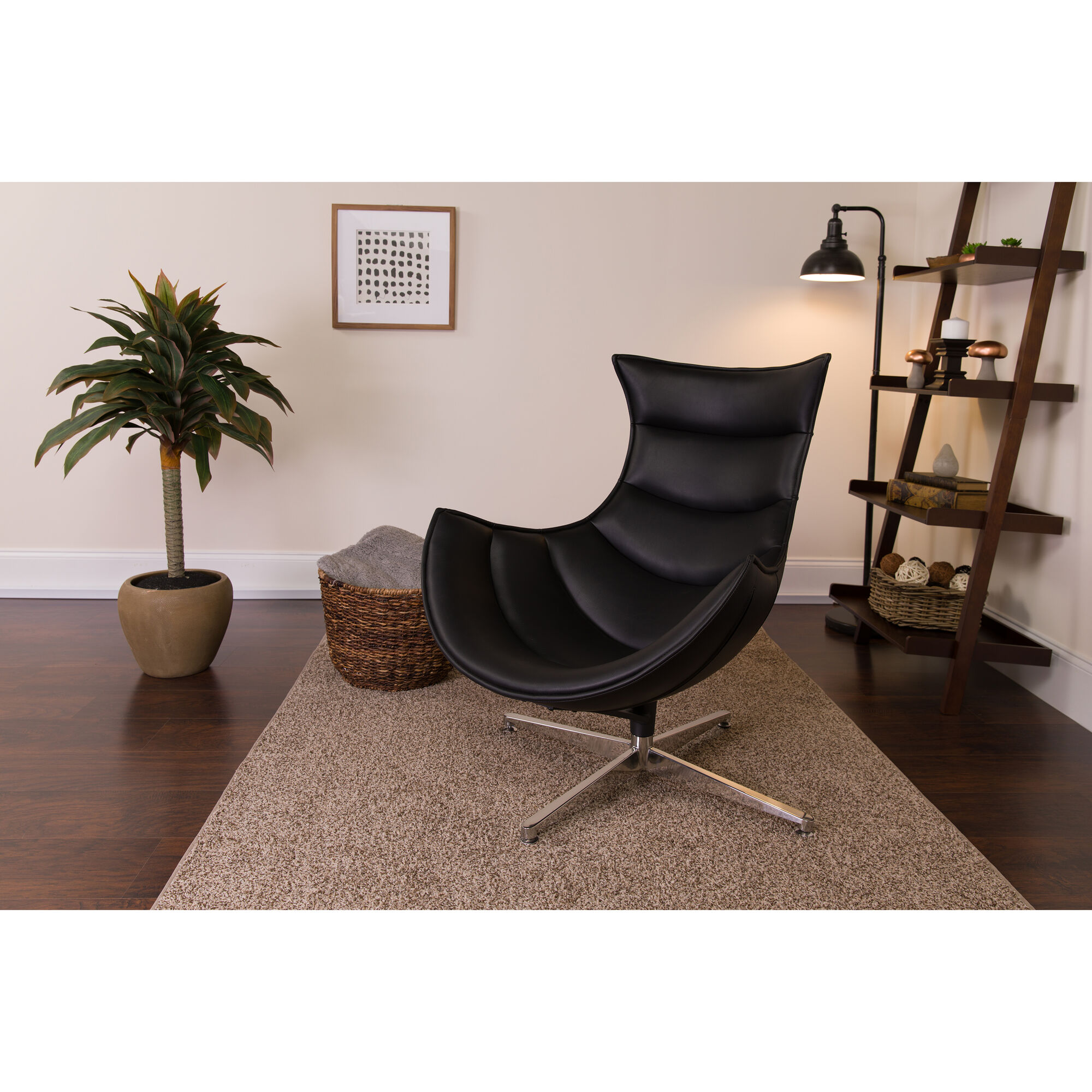 Strange Black Leather Swivel Cocoon Chair Bralicious Painted Fabric Chair Ideas Braliciousco