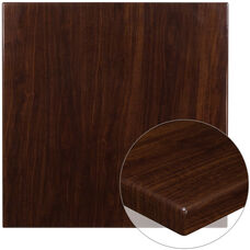 36'' Square High-Gloss Walnut Resin Table Top with 2'' Thick Edge