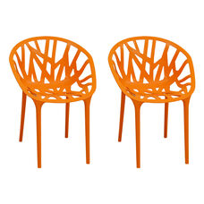 Branch Stackable Outdoor Orange Accent Chair - Set of 2