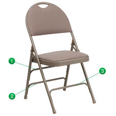 HERCULES Series Ultra-Premium Triple Braced Beige Fabric Metal Folding Chair with Easy-Carry Handle