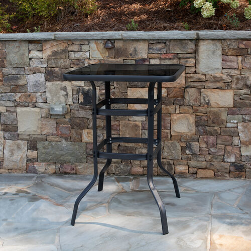 "Our 27.5"" Square Black Tempered Glass Bar Height Metal Patio Bar Table is on sale now."