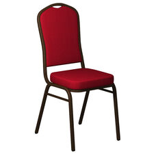 Embroidered Crown Back Banquet Chair in Sherpa Cardinal Fabric - Gold Vein Frame