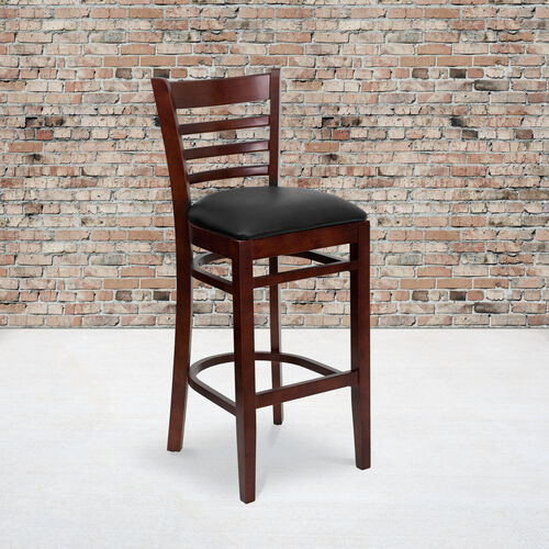 Our Mahogany Finished Ladder Back Wooden Restaurant Barstool with Black Vinyl Seat is on sale now.