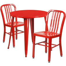 """Commercial Grade 30"""" Round Red Metal Indoor-Outdoor Table Set with 2 Vertical Slat Back Chairs"""