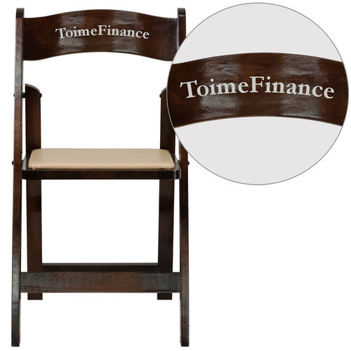Our Personalized HERCULES Series Fruitwood Wood Folding Chair with Vinyl Padded Seat is on sale now.