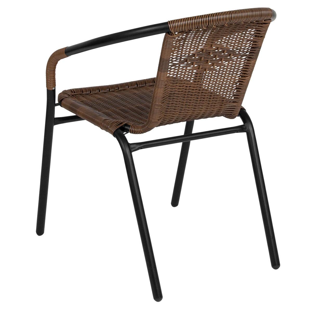 Flash furniture dark brown rattan indoor outdoor for Indoor outdoor furniture